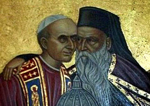 Servant_of_Pope_Paul_VI_of_Rome_and_Patriarch_Athenagoras_I_of_Constantinople_embrace_ecumenism_icon