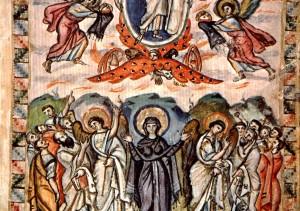 Nanebevstoupení Páně, Rabbúlův evangeliář, Sýrie, 6. století