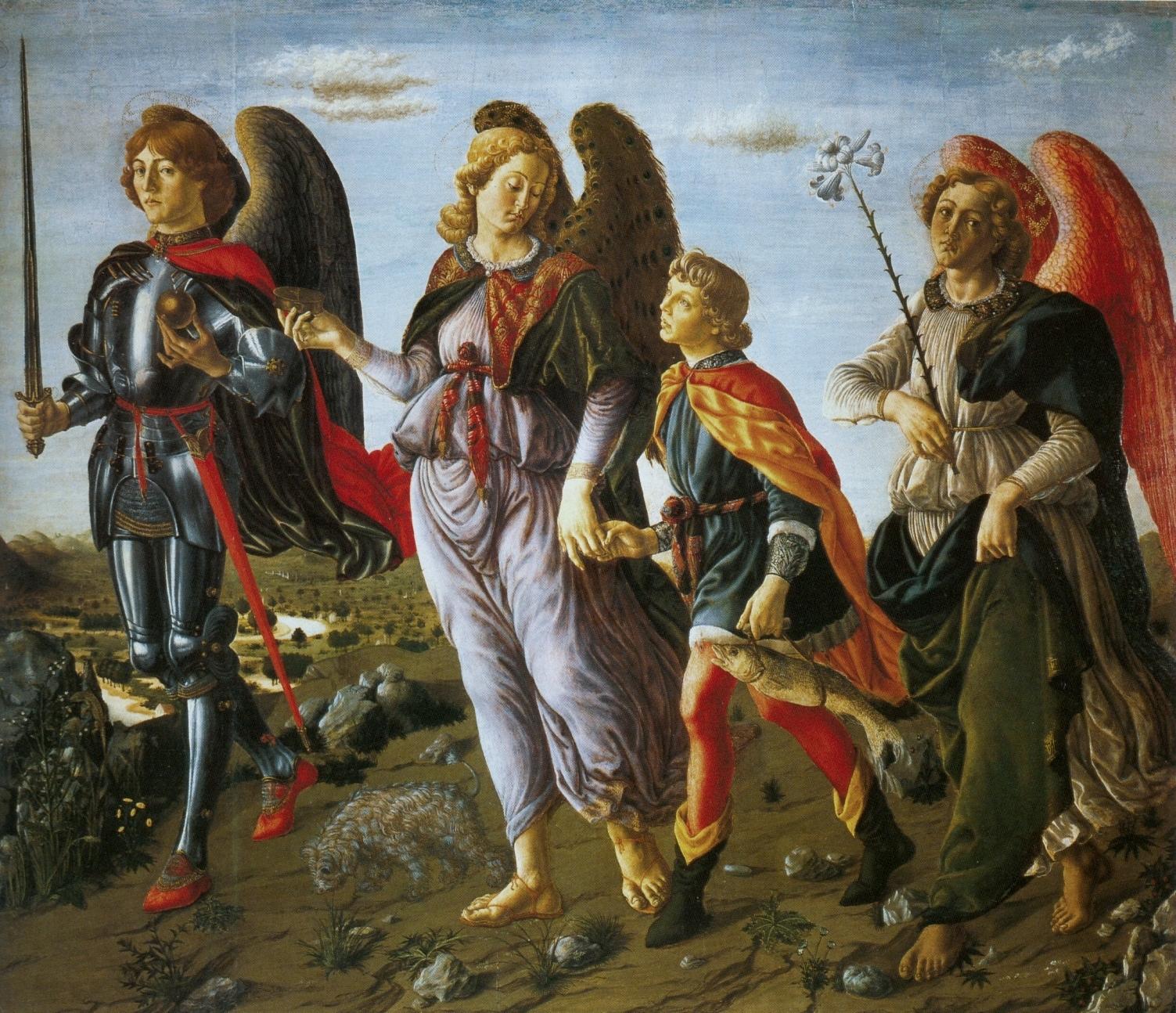 Francesco_Botticini_Three_Archangels_with_Tobias._(135x154cm)_c.1471_Uffizi,_Florence
