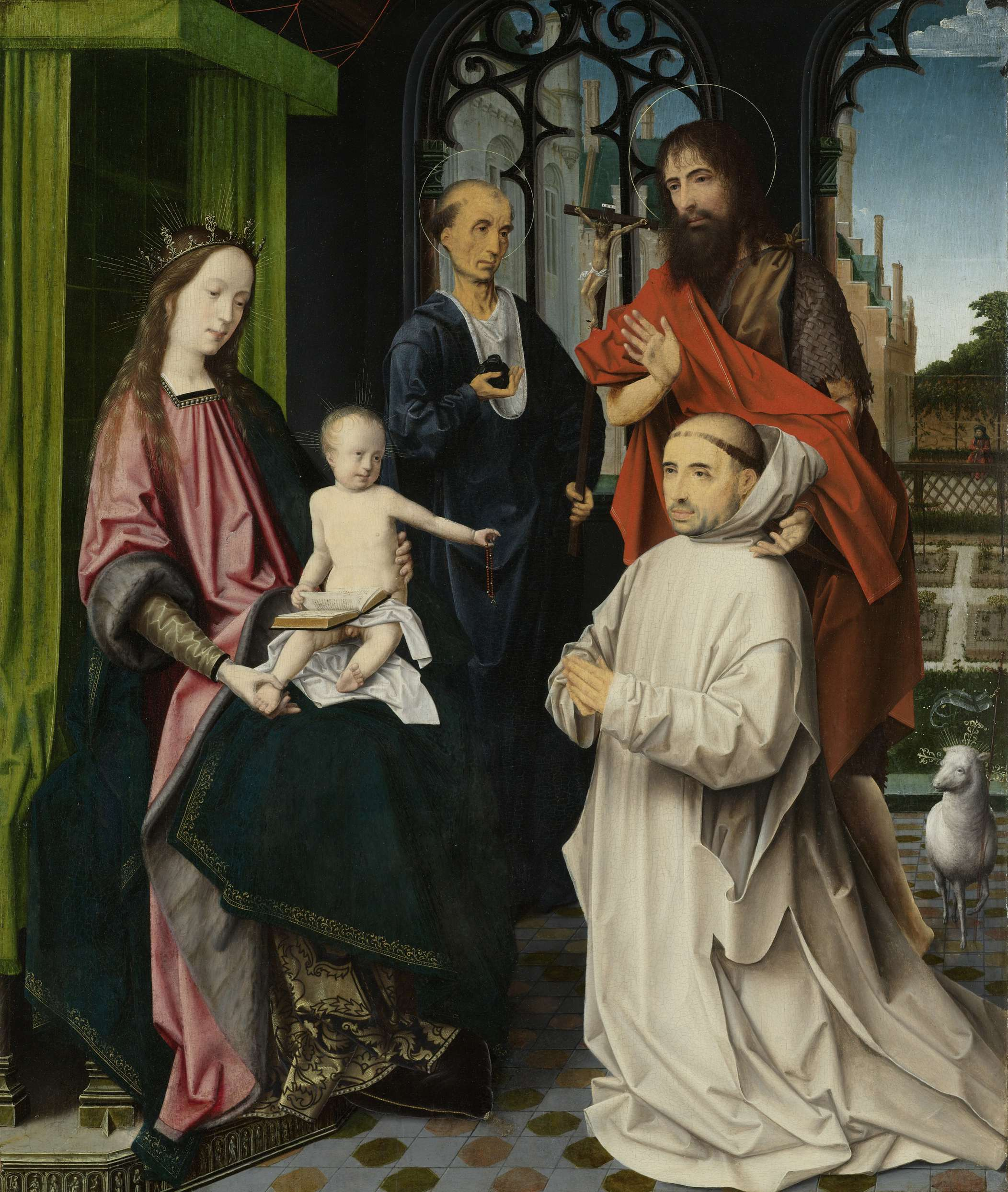 Virgin-and-Child-Enthroned-with-Saints-Jerome-and-John-the-Baptist-and-a-Carthusian-Monk-ca-1510-Jan-Provoost.2389