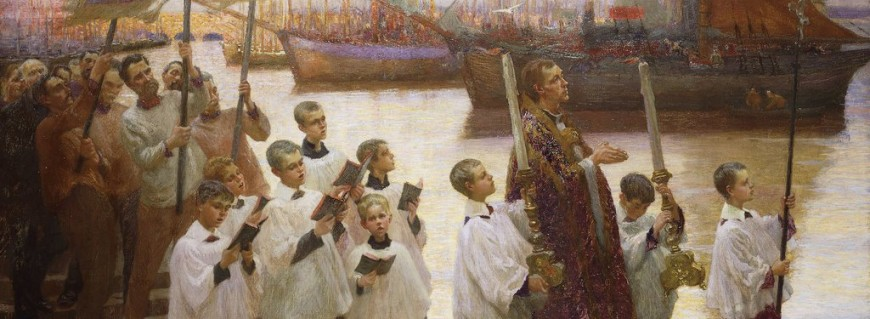 Rogation Day, Cornwall. William Holt Yates Titcomb (1858-1930). Oil on canvas. 35 1/2 x 66 1/2in