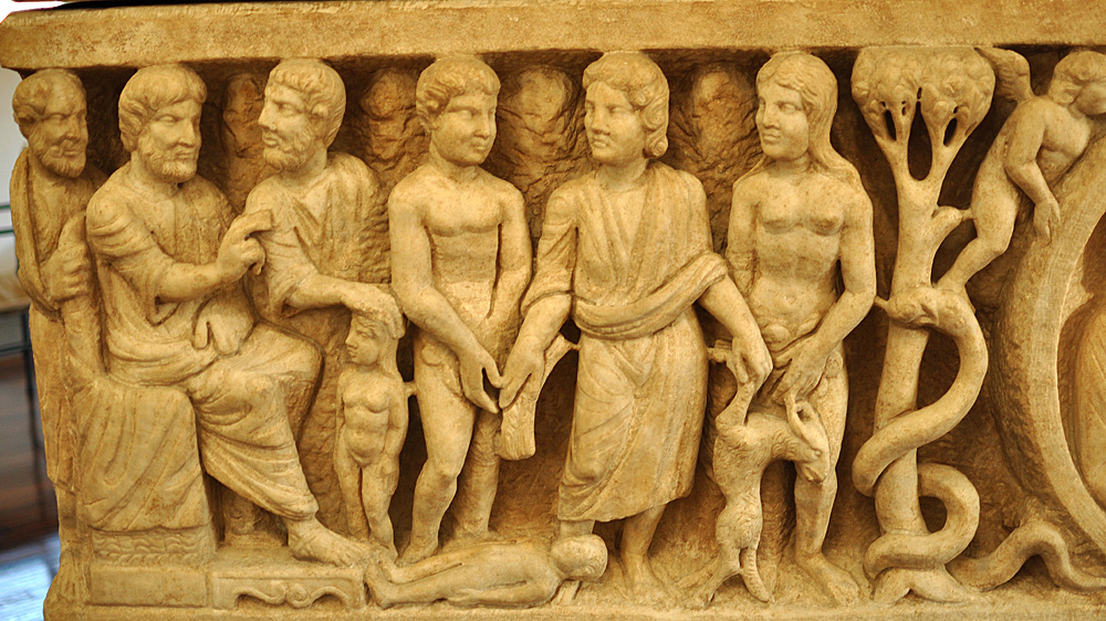 Upper register, far left of the Dogmatic Sarcophagus (before mid-4th cent.): The Trinity, Creation of Eve, Labors Assigned to Adam and Eve