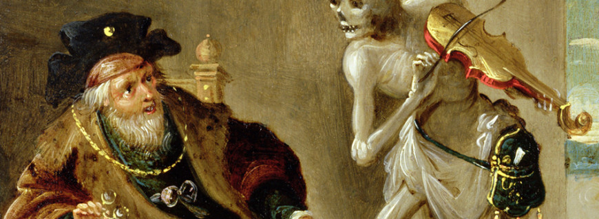 "Composer Camille Saint-Saëns' piece Danse Macabre draws on the late-medieval allegory of ""the Dance of Death"" — pictured here in a painting of the same name by Frans Francken"