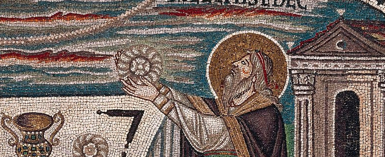ITALY - MAY 02: Melchizedek bringing bread as an offering, detail from the Sacrifices of Abel and Melchizedek, mosaic, lunette, south wall of the presbytery, Basilica of San Vitale (UNESCO World Heritage List, 1996), Ravenna, Emilia-Romagna. Italy, 6th century. (Photo by DeAgostini/Getty Images)